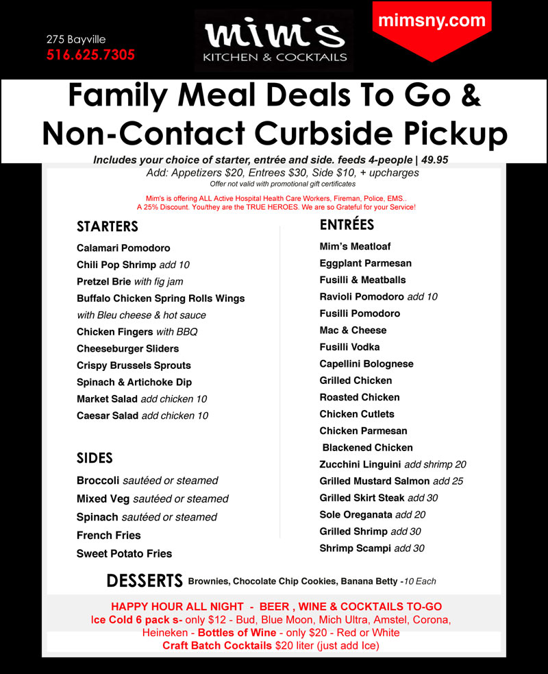 Mims Family Meal Deals